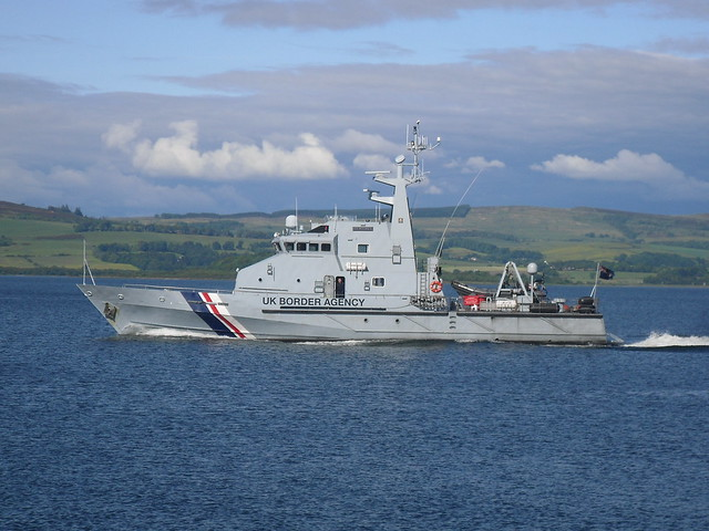 uk border agency ship passing greenock on her way down the clyde