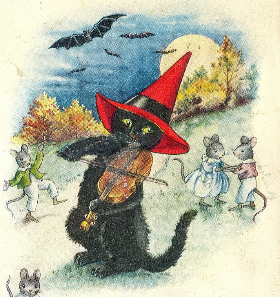 Halloween GREAT 1920s Fiddle Playing Black Cat in Witches … | Flickr