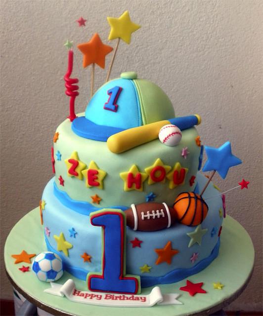 Marvelous Sports Theme 1St Birthday Cake Tracey Chooi Flickr Funny Birthday Cards Online Bapapcheapnameinfo