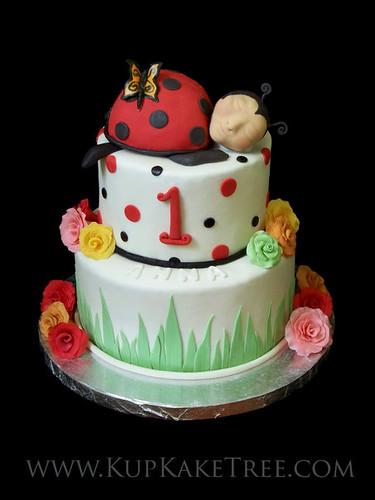 Awe Inspiring Lady Bug 1St Birthday Cake Kupkake Tree Flickr Funny Birthday Cards Online Overcheapnameinfo