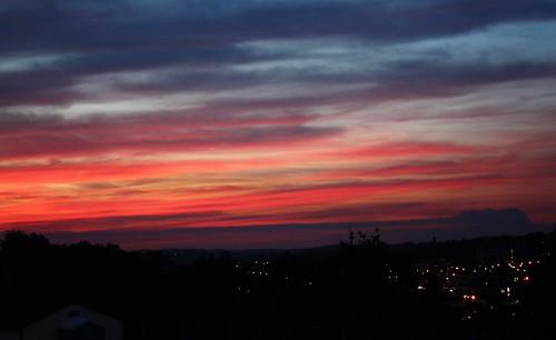 city blue sunset red orange silhouette clouds lights washington pittsburgh pennsylvania horizon sooc