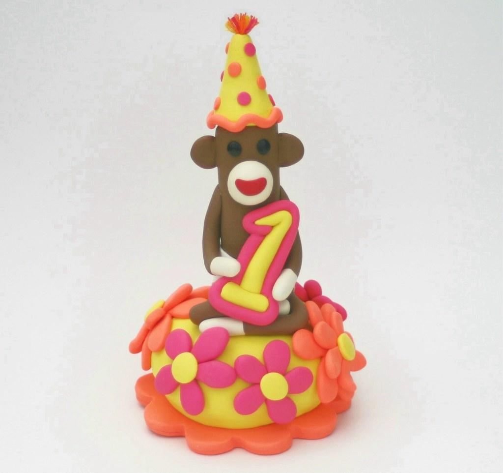 Excellent Sock Monkey Birthday Cake Topper Baby Girl First B Day Flickr Birthday Cards Printable Giouspongecafe Filternl