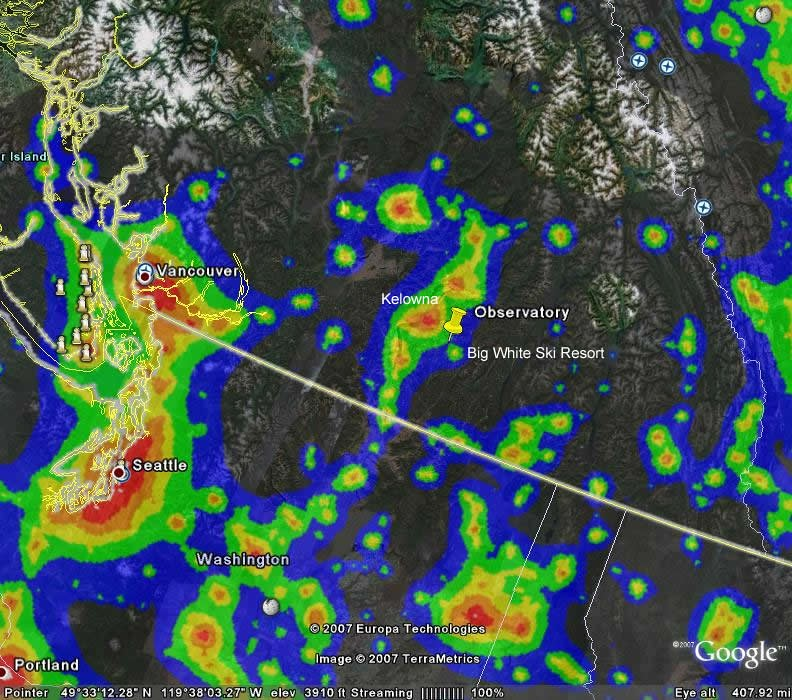 British Columbia Light Pollution Map | Raise awareness of th