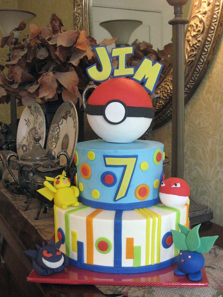 Amazing Pokemon Birthday Cake Pokemon Birthday Cake For My Sons 7 Flickr Funny Birthday Cards Online Alyptdamsfinfo