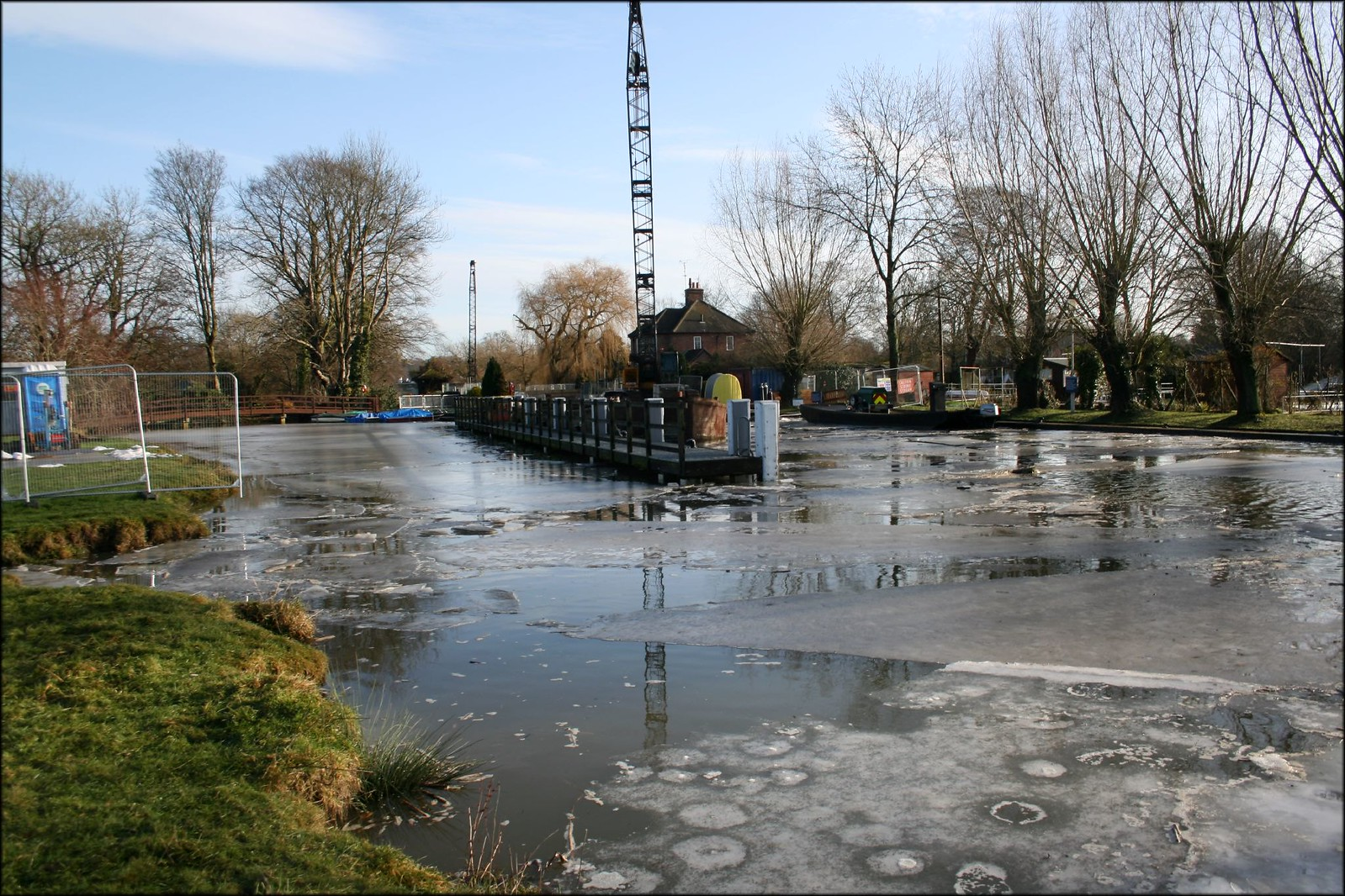 A part-frozen Shiplake lock
