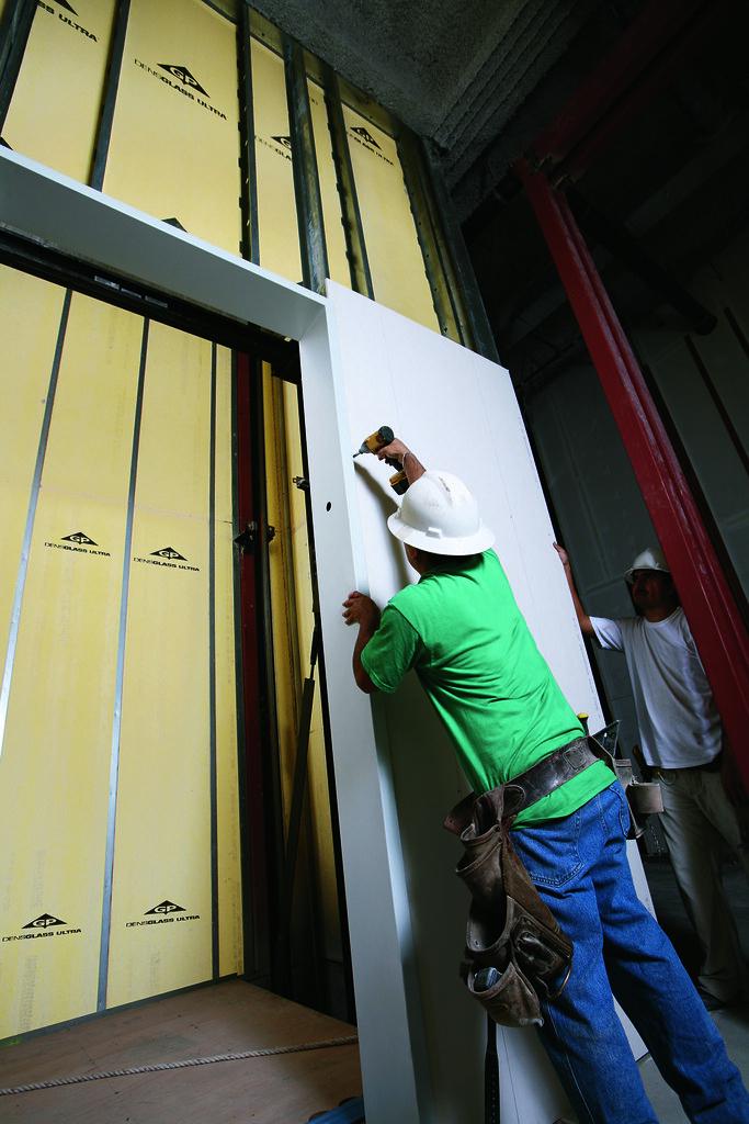 Elevator Shaft With Densglass Shaftliner And Densarmor Plu