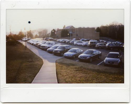 sunset sun cars film iso800 parkinglot fuji tennessee parking wide lot sidewalk instant epson dayton instax 210 v700 bryancollege