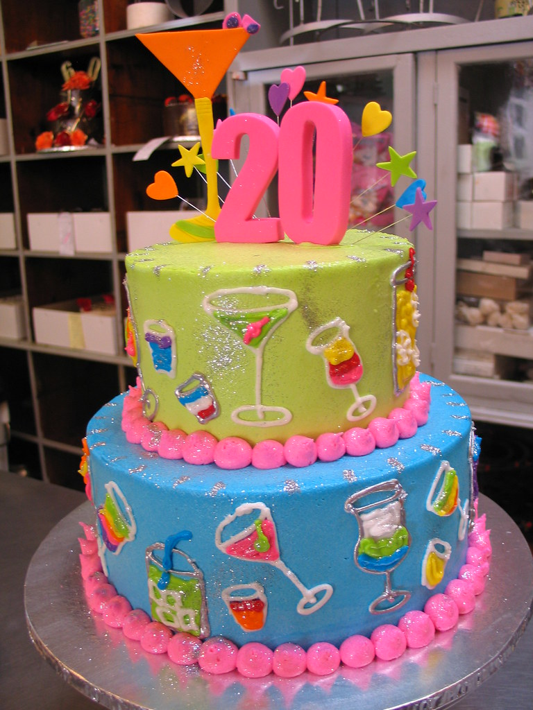Swell 2 Tier Cocktails Theme 21St Birthday Cake 2 Tier Cocktails Flickr Personalised Birthday Cards Beptaeletsinfo