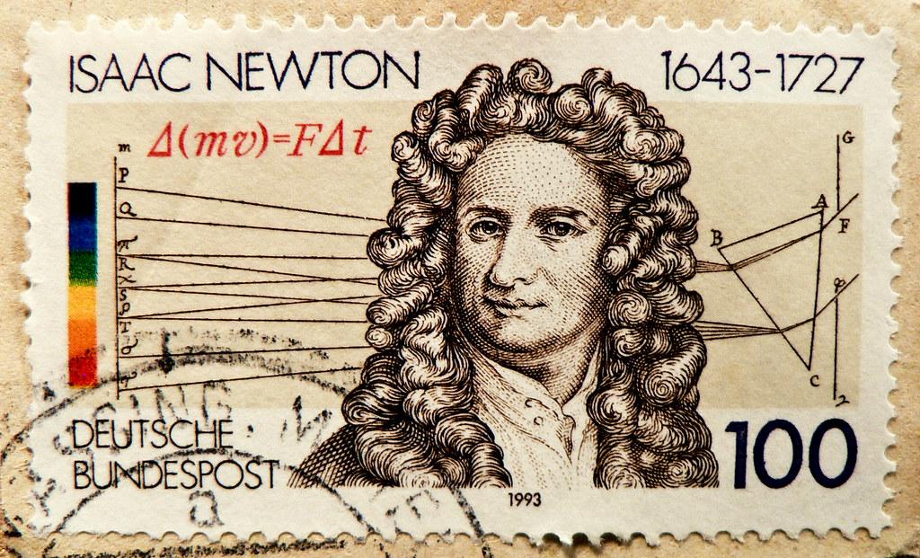 stamp Germany 100 pf. Isaac Newton portrait F=ma selo sello alemanha poste timbre allemagne germany stamp Sir Isaac Newton 1643 1727 postage 100 pfennig porto franco bolli bollo sellos Philosophiæ Naturalis Principia Mathematica
