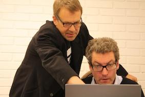 Jan Svenungsson och curatorn Carl Fredrik Hårleman