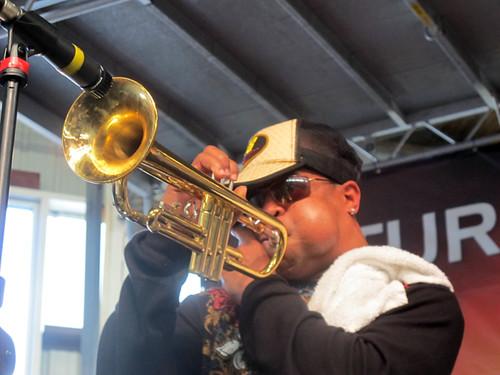 Derek Shezbie of Rebirth Brass Band at Gulf Aid