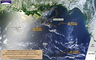 Deepwater Horizon Oil Spill – MODIS/Terra Detail (with interpretation), May 22, 2010
