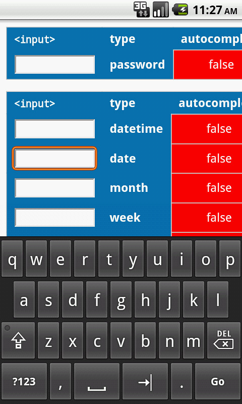 Android keyboard layout for input type=date | The screen sho