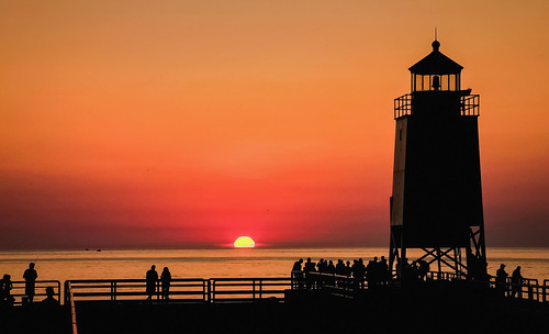 summer sun sunset sundown glow golden orange sky light lighthouse pier people silhouette silhouettes night show glorious color shadows sea seascape water lake michigan charlevoix tourist public nature rural warm evening dusk boats beach shore popular site anawesomeshot fence friday canonflickraward