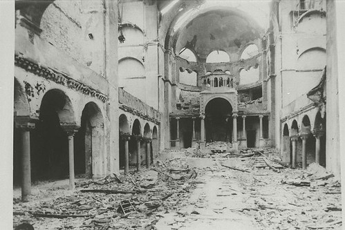 Interior view of the destroyed Fasanenstrasse Synagogue, Berlin, burned during the November Pogroms | by Center for Jewish History, NYC