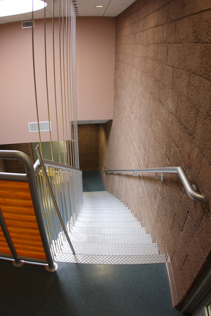New suspended staircase at the renovated North Shore Beach & Yacht Club at the Salton Sea.