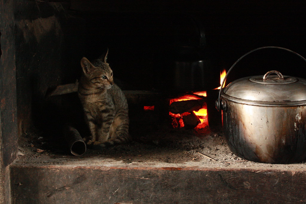 Pugon and Cat | The old pugon where water is boiled for the