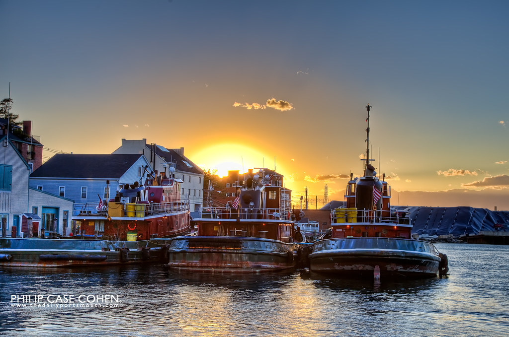 Tugboats at Sunset by Philip Case Cohen