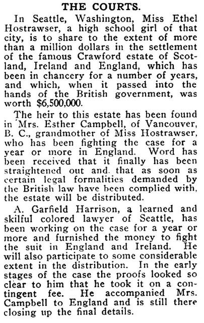 Ethel Hostrawser, High Schooler, To Share in Crawford Estate Worth $6,500,000 - Crisis Magazine, 1911