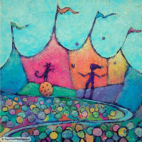 original art cat painting landscape acrylic circus tent juggling balancing impressionist