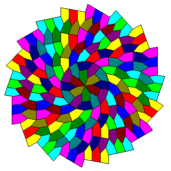'This tiling consists of equilateral pentagons. In order, the vertex angles are 60, 160, 80, 100 and 140 degrees. The pentagon can be considered an equilateral triangle attached to a rhombus with 80-degree acute angles.  Beyond the initial rosette, the tiling consists of radial sectors made up of pairs of mirror-image pentagons. The pairs stack in the usual triangular stacking pattern.  In this figure bright colors show pentagons of one handedness and dark shades the mirror image pentagons.'  Seen at www.uwgb.edu/dutchs/symmetry/radspir1.htm  Also see www.youtube.com/watch?v=uOVhkGeg9Co  This is an equilateral triangle and a fat rhombus. I have the triangle and would need to make the rhombus.  Rhombus angles:  80° and 100°