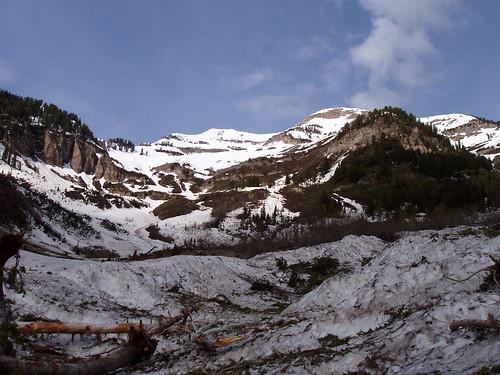 The basin below the Cascade Mountain summit and ridge.