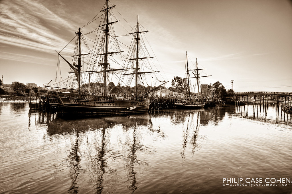 Vintage Tall Ships in Portsmouth by Philip Case Cohen