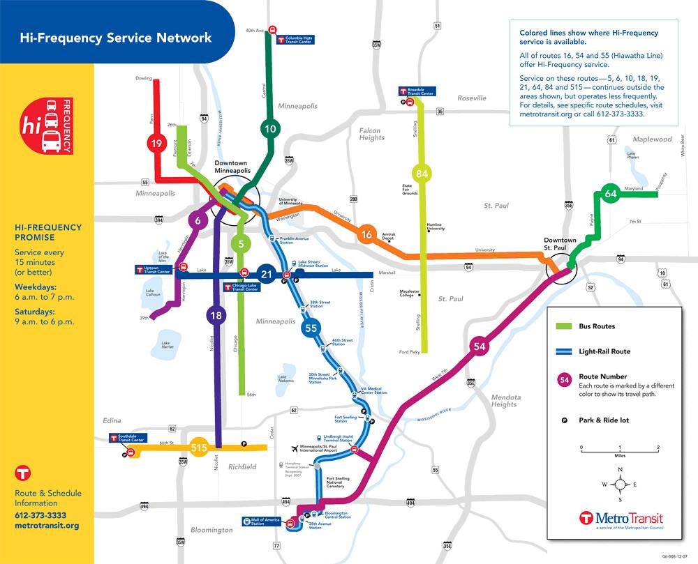 Minneapolis Subway Map.Metro Transit High Frequency Bus Map Minneapolis Richard Layman