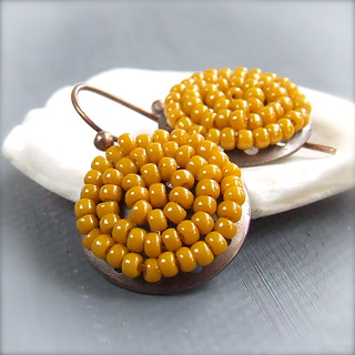 Antiqued Copper, Glass Seed Bead - Earrings - 'Toffee Pods' | by balanced.crafts