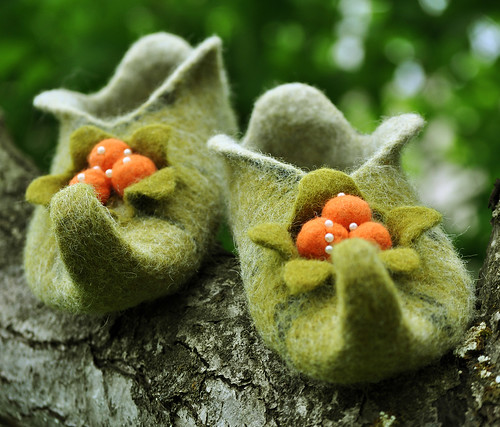 "Felted slippers ""Cloudberry"" 