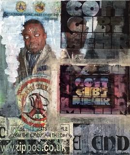 Zavier Ellis 'Doctrine I', 2014 Acrylic, oil, c-type print, acetate, tape, street poster on linen 30x25cm