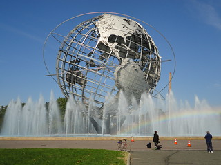 Unisphere with a rainbow in the Fountain