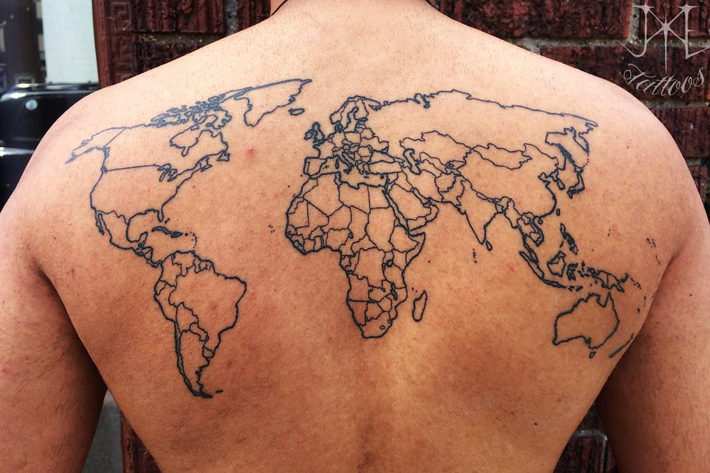 World Map Outline Tattoo Healed Hdrobeman Flickr
