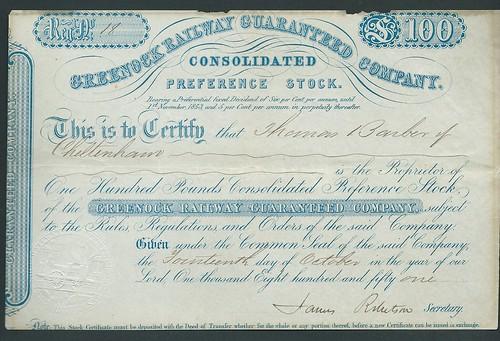 Greenock Railway Guaranteed Stock Certificate of 1851 | by ian.dinmore