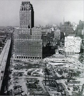 World Trade Center site in 1966. New York Telephone building and the West Side Highway surround it. | by wavz13