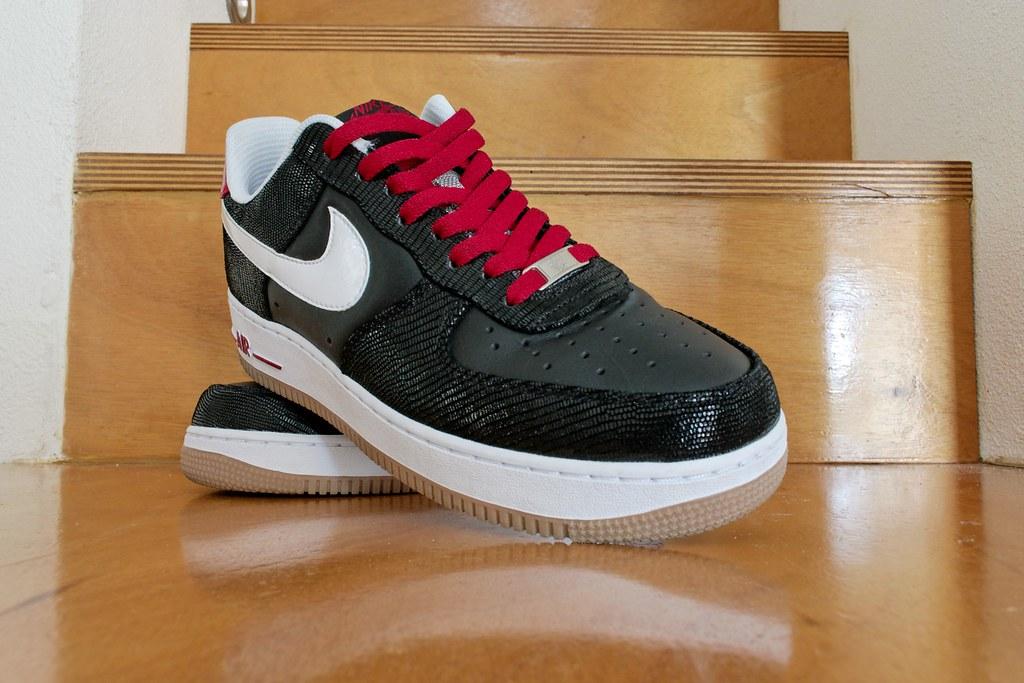 pretty nice ddb56 4ecde ... Nike Air Force 1 Low Premium Black White Varsity Red 008   by Rooog