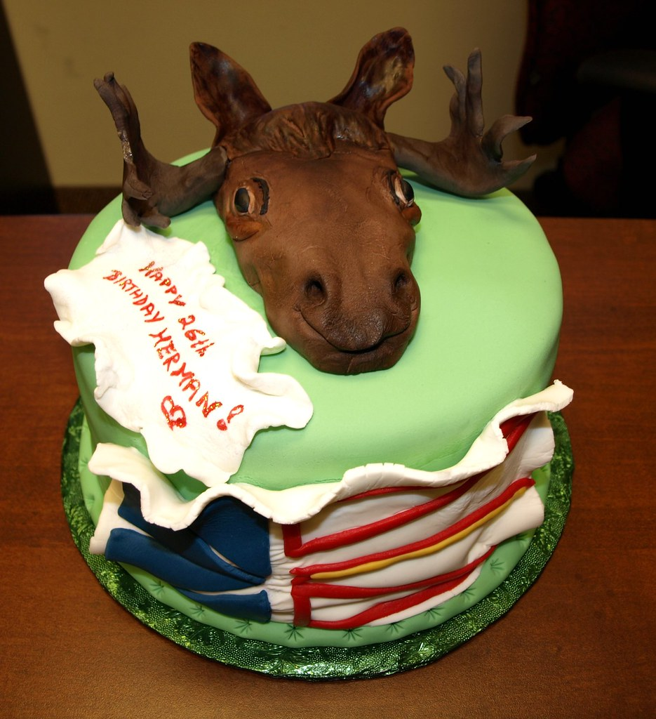 Tremendous Moose Cake Gabriella This Was A B Day Cake Request For Flickr Funny Birthday Cards Online Overcheapnameinfo