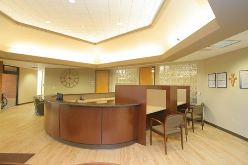 Woodland Healthcare Reception Desk Finished Product