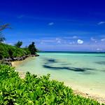 珊瑚に守られる離島