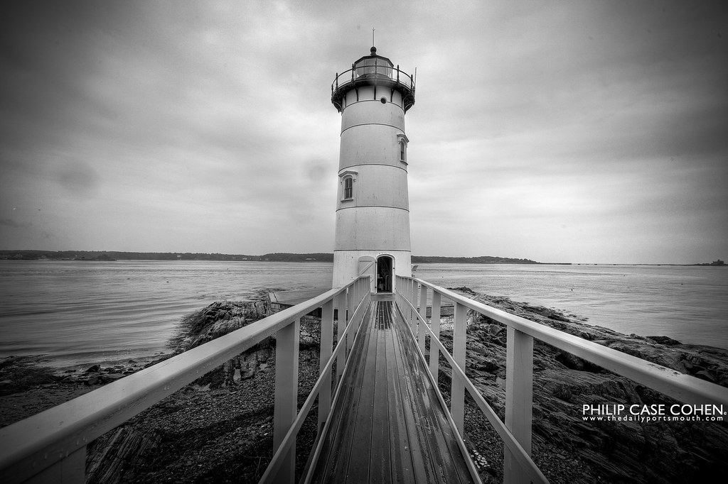 In the Rain at Portsmouth Harbor Light by Philip Case Cohen