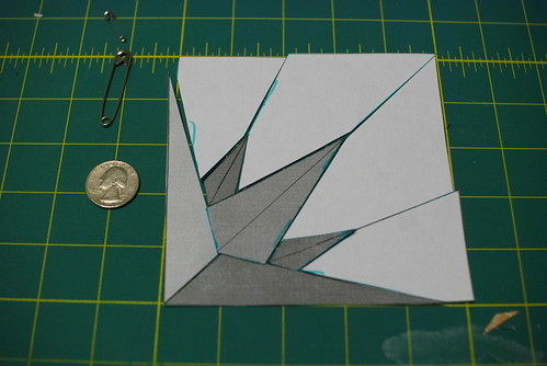 You need four of these to make a star. I thought I'd cut a small amount of fabric first, just to make sure I could actually do this.