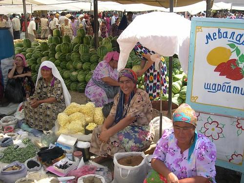 Melons at a market in Uzbekistan