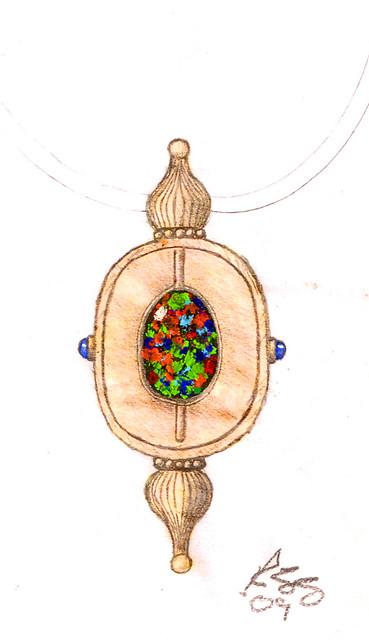 Design Sketch / Rendering for Black Opal Necklace / 5