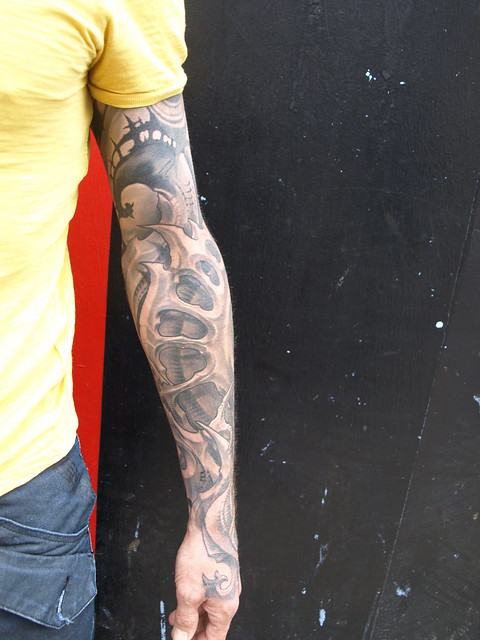 biomechanical tattoo sleeve by kali