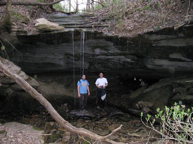 Entrance to Make Khadaffi Crawl Cave, Mark Senne, Dr. Peter Li, Cookeville, TN
