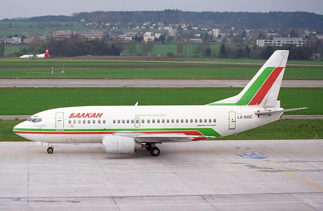 Balkan Bulgarian Airlines Boeing 737-500; LZ-BOC@ZRH;17.04.1995