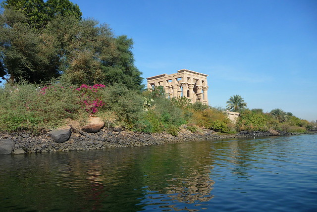 Egypt temple at the banks of the Nile river - org
