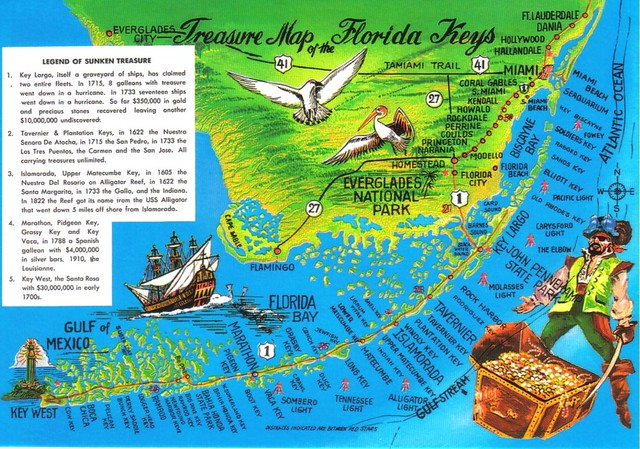 Florida Keys Treasure map postcard - available   Legend of s ... on st. croix virgin islands map, sarasota keys map, key biscayne map, bahamas map, florida map, sw fl map, pa keys map, orlando map, state of fl map, port richey fl map, miami keys map, ft lauderdale map, key largo hotel map, key west map, home map, sunset key map, siesta key beach map, boca raton map, fl springs map, katrina map,