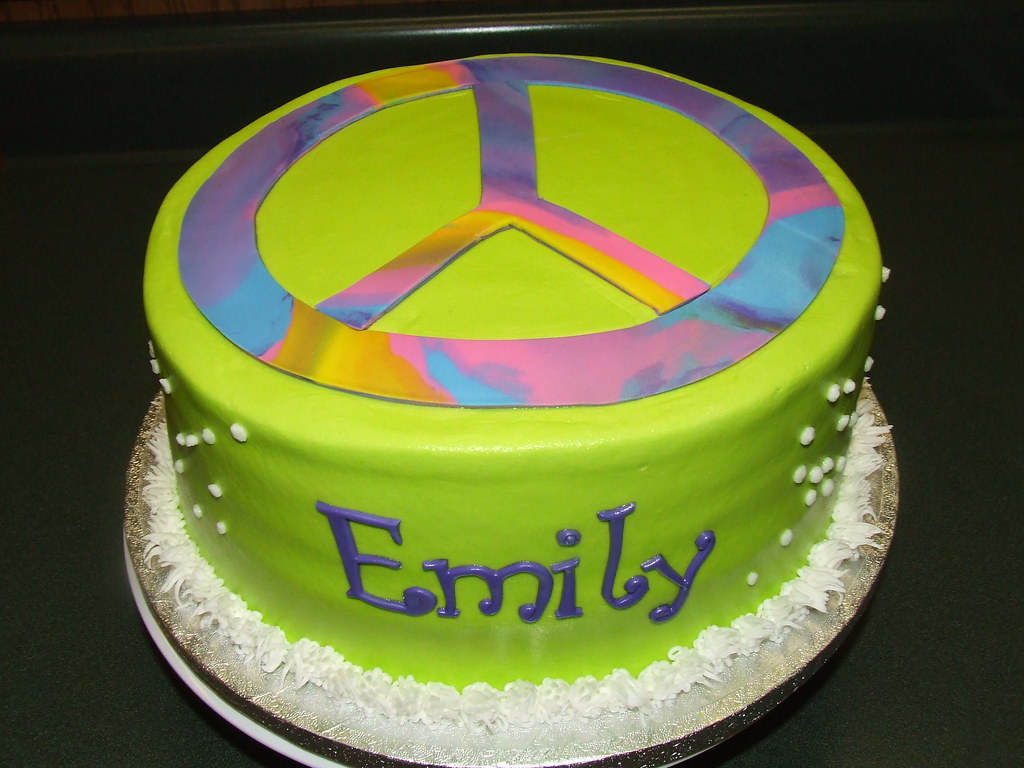 Phenomenal Peace Sign Birthday Cake Debbie Flickr Personalised Birthday Cards Epsylily Jamesorg