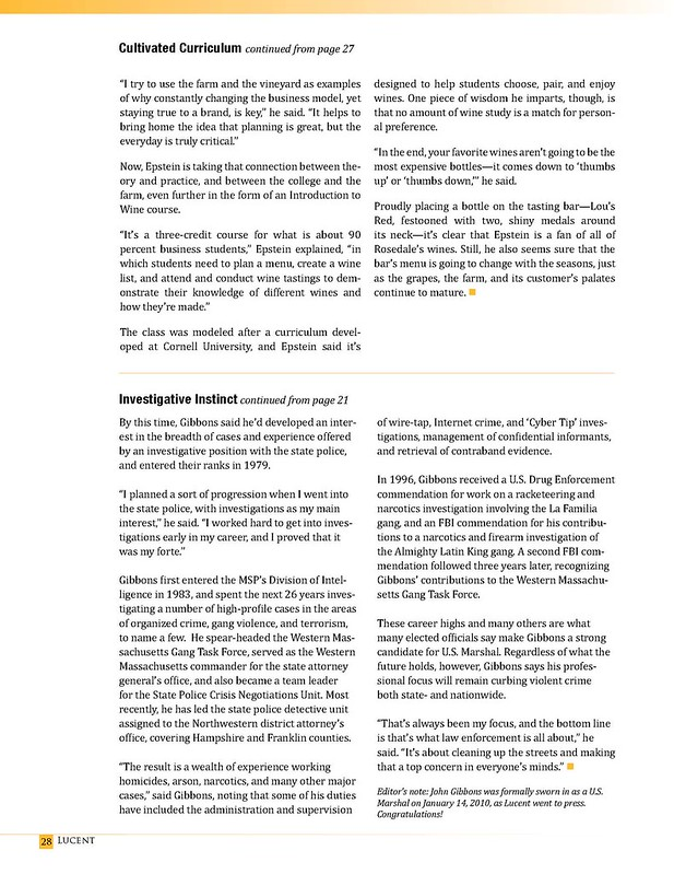 Lucent Winter 2010 - A Cultivated Curriculum page 3 / Investigative Instinct page 2